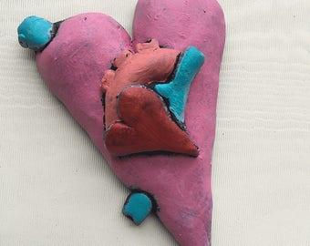 Valentine Heart -- Anatomical Heart Magnet -- Refrigerator Magnet - Clay Heart - Valentine's Day Gift