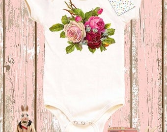 Baby Gift, Gift for Her, Rose Bodysuit, Baby Girl, Shower Gift, Organic Baby Bodysuit, Roses Onesie, Baby Girl, Organic Onesie, Shower Gift