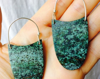 African Turquoise And Sterling Earrings