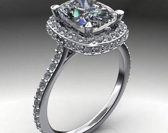 madeline ring - 2.4 carat cushion cut ZAYA moissanite engagement ring, diamond double halo ring