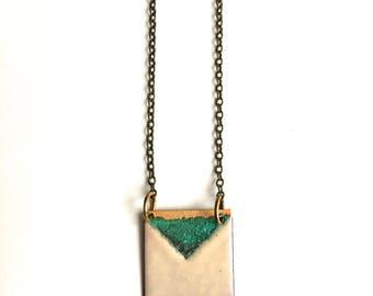 Reversible Enamel Square Necklace