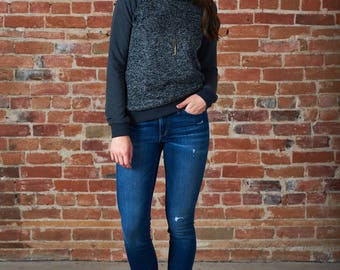 Lilly sweatshirt with tweed and bamboo