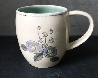 Handmade mug with sketched flowers - READY TO SHIP