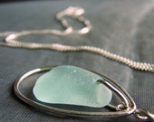 Sea Glass Necklace / sea glass jewelry / bridesmaid's gift / beach glass jewelry / sterling silver / beach wedding party / teardrop necklace