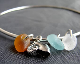 Sea Glass Bracelet / sea glass jewelry / genuine sea glass bangle / beach glass bracelet / sea shell sterling silver seaglass bracelet
