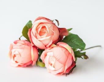 3 Vintage Inspired Rose Buds in Two Tone Coral Pink - Silk Artificial Flowers - ITEM 0858