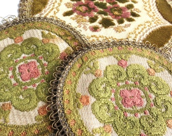 3 Vintage Tapestry Doilies, Small Round Needlepoint Table Rugs, Old  Needlework Doily Plant Coasters