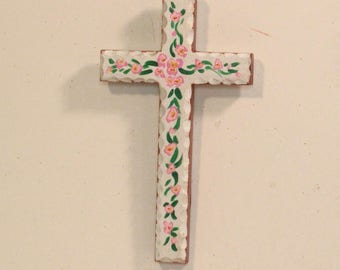 Painted wood cross wall hanging