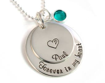Personalized Remembrance Necklace - Forever in My Heart - Memorial Necklace - Memory Necklace - Handstamped Sterling Silver and Birthstone