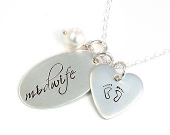 Midwife Necklace - Gift for Midwife - Handstamped Sterling Silver - Midwifery Gift - Mid Wife