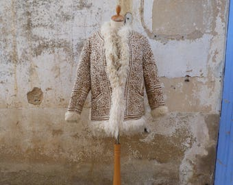 Vintage 1970s Afghan embroidered  curly lamb shearling vest /Hippie/ Boho size M