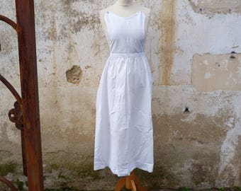 Vintage Antique French 1900s Edwardian French white 100 % cotton long apron