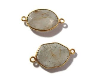 Two Golden Rutile Quartz Charms, 2 Matching Shimmering Natural Gemstone Pendants, 24mm x 13mm Gold & Clear, Jewelry Supplies (C-Ru5b)