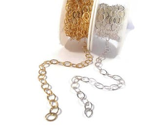 Large Flattened Chain, .925 Sterling Silver or 14/20 Gold Filled Cable Chain, 8mm x 6mm Links, Baby Monster Chain, By the Foot (11077as/af)