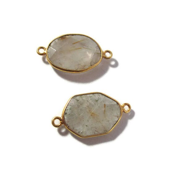 Two Golden Rutile Quartz Charms, 2 Matching Shimmering Natural Gemstone Pendants, Gold & Clear, Jewelry Supplies (C-Ru5b)