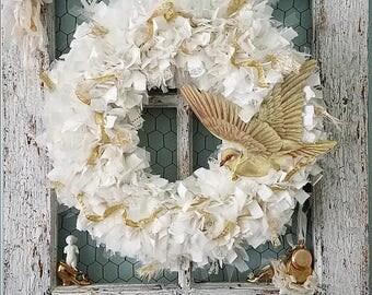 Wreath, Fabric Wreath, White Wreath, Rag Wreath, Winter Wedding, White Christmas, Gold Christmas, Peace Dove, Feather Wreath, Shabby Chic