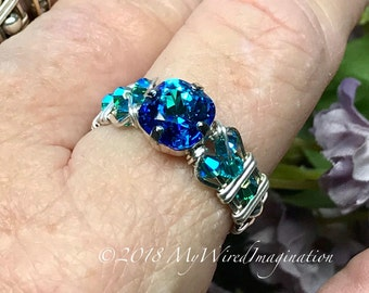 Bermuda Blue, Vintage Swarovski Crystal Handmade Ring, Wire Wrapped Sterling Silver or 14K GF, Unique Engagement Anniversary Birthday Gift