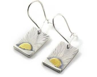 New Beginnings Handmade Sterling Silver, Brass Mixed Metal Earrings