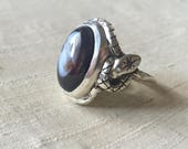 Agate and Black Diamonds- Star Snake Talisman Ring
