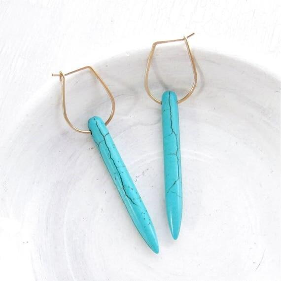 Dagger Earrings > Turquoise