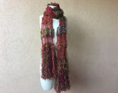 Hand Knit Cotton Scarf - Copper, Rust, Brown, Red, Brick, Paprika, Masala, Mustard, Auburn Large Scarf Long Scarf with Fringe