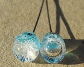 Ocean in a drop- Handmade lampwork glass headpins-  light aqua encased bubble droplet