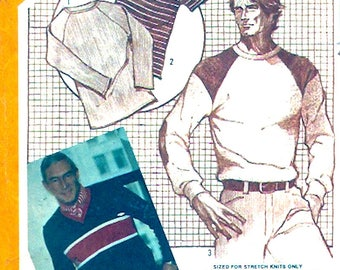 Mens knit Shirts designer John Weitz pullover tops Athletic style casual wear retro vintage sewing pattern Simplicity 9993 Chest 42 UNCUT