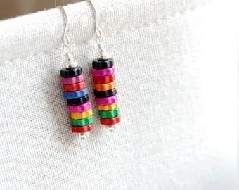 Colorful Earrings, Wooden Gears, Gear Earrings, Earrings, Rainbow Earrings, Funky Earrings, Dangle Earrings, Sterling Silver - Colorfall