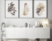 Set of - 3  Prints - (Print #'s 376,377, 378 )   Fine Art Print - Two Paper Choices- Mineral Geode Agate Crystal Decor