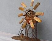 Vintage Metal Sculpture, Tramp Art, Recycled Scrap metal Art, Windmill, Steampunk decor