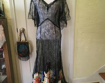 1930s Vintage Lace Dress, 30s Black Evening Gown, Silk Floral Painted Appliqués, Garden Dress, Volup Size, Gothic Bride, Alternative Bridal