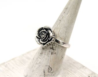 Size 6.75 Rose // Sterling Silver statement ring, by BellaLili, Welded Silversmith