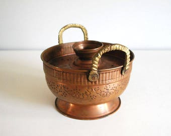 Copper Cooking Pot, Israeli Cauldron, Embossed Metal Server, Middle Eastern Metal Pot, Bohemian Boho Bedouin Decor, Israeli Folk Art Planter