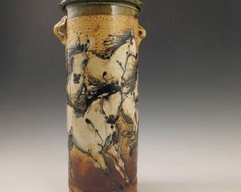 Tall Vase With Herd of Horses Slip Trailed Pottery
