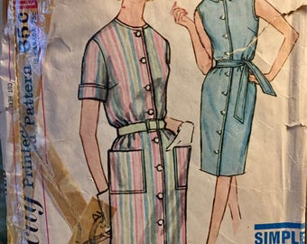 Vintage 60's One Piece Dress  Sewing Pattern  Simplicity 4951 Misses'  Size 40 Bust 42 Inches Complete