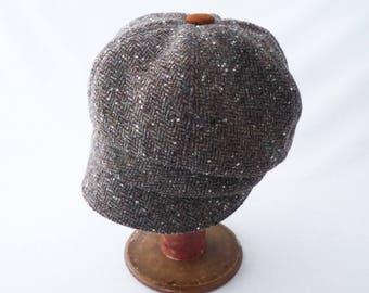 Newsboy Hat, Women's Hat, Herringbone, Gray, Tweed Wool, Rusty Brown, Wool Newsboy, Faux Suede, Cute Hat, Cloche Brim, Gift for Her, Chapeau