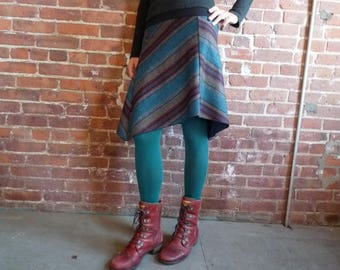 Women's Skirt, Striped Wool, Blue, Red, Brown, Herringbone, Organic Bamboo, Asymmetrical, A Line, Winter Style, Office, Gift for Her, Casual