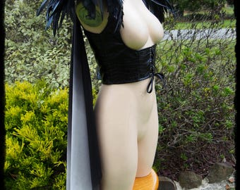 Black Underbust Vest with Feathers and Shoulder Drapes, Size Medium to Large - Ready to Ship - Cosplay Raven Warrior Sansa Huntress Goddess
