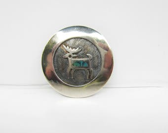 Native American Sterling Silver Overlay Deer Brooch  - Pin with Inlaid Turquoise     1679