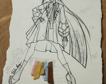 Original Fashion Sketch by Project Runway's Valerie Mayen, Fabric Clippings Attached, Perfect for girl's bedroom, Home Decor, Ready to Hang