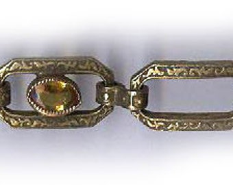 vintage AMBER GLASS and BRASS chain section patina chain repurpose for channel set amber glass stones lightweight chain