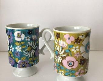Royal Crown Mugs Floral Montage by Kitty 3559 Purple Aqua and Chartreuse Mug set 1970's Japan Footed Mug with Fancy Handle