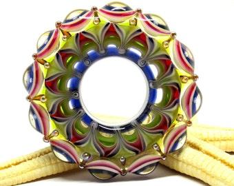 SMAUGGS handmade lampwork bead WHEEL (43mm x 10mm), glass, green, purple, hole 16mm