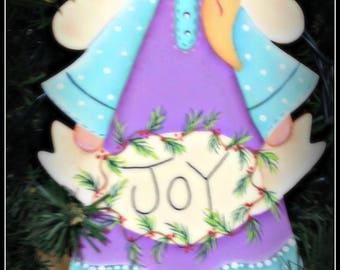 Joy Angel Wood Christmas Tree Ornament-Hang Tag-Wreath Decoration Home Decor