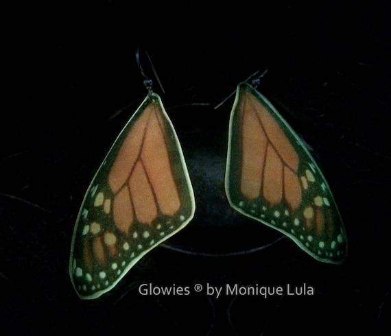 Monarch Butterfly Glow in the dark Wing Earrings on Sterling Silver Hooks