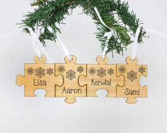 Puzzle Piece Ornament, Family Ornament, Wood Ornament, Personalized Family Ornament, Custom Gift, Annual Family Ornament --24137-OR10-019