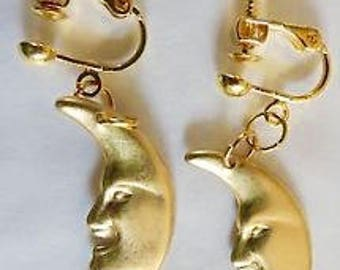Crescent moon earrings screw fitting for non pierced ears raw brass man in the moon