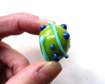 Handmade Lampwork Focal Bead - Glass Bead with Spirals - Lime Planet - Blue Green Lime