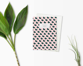 Thank you card - Illustrated card for plant lovers - Pink with heart leaves - Custom thank you card