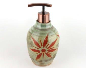 Soap Dispenser or Lotion Dispenser for Kitchen or Bath- Lotion Bottle -16 oz.-  Green with Terracotta Sunburst